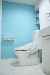 ライトブルーカラーのトイレ